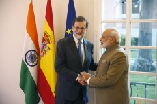 Narendra Modi and Mariano Rajoy show their support for the second Spain-India Forum